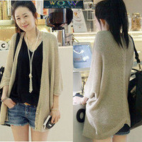Korean Fashion Medium Long Cape Bat-Wing V Collar Knitwear Blouse Top Sweater