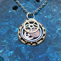 Clockwork Pendant Compass Recycled Mechanical by amechanicalmind