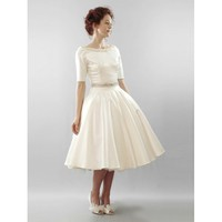 Classic taffeta tea length wedding dress - Star Bridal Apparel