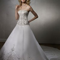 Elegant A Line Strapless Cathedral Train Satin Sleeveless Wedding Dress-$387.98-ReliableTrustStore.com