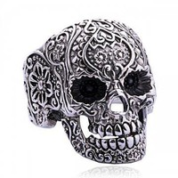 Punk Style Silver Skull Ring by Hallomall on Zibbet