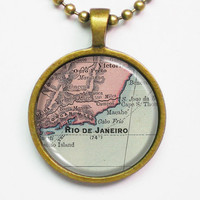 Personalized Map Necklace - Rio de Janeiro, Brazil -Vintage Map Pendant Series