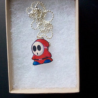 Red Shy Guy Necklace by vault101 on Etsy