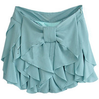 ROMWE | Bowknot Falbala Blue-green Culottes, The Latest Street Fashion