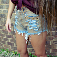 WILDHEARTS Vintage Spike STUDDED Gold METALLIC Coated Denim Shorts S