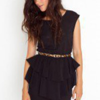 Belted Peplum Dress - Nude - NASTY GAL