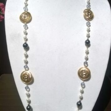 """Beautiful 44"""" Designer Inspired Pearl & Crystal Necklace Set"""