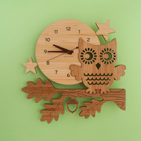 Owl Clock: Bamboo Wood Night Owl Kids Clock Modern Baby