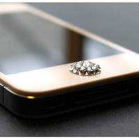 Clear Swarovski Elements Pop-Up Peel &amp; Stick Apple iPhone Home Button 3 3G 4 4S 5 iPad 1 2
