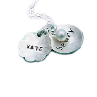 Silver Dome Necklace Personalized Hand Stamped Sterling Name Pendant gift wedding birthday