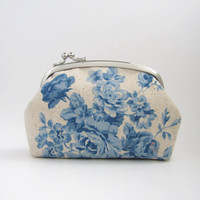 Frame Purse- blue roses on natural beige