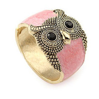 Owl Pink Crystal Vintage Bangle - Sheinside.com