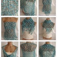 FREE SHIPPING -Hand crocheted turquoise white magic shawl