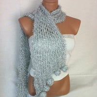 Silver colored Shawl, Scarf