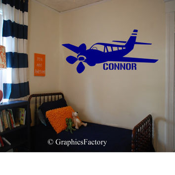 Custom Airplane Decal - Personalized - Wall Art - Kids Room - Custom Kid Name - Personalized Decal - Gift Idea - Kids Room Decor - Playroom