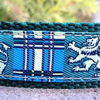 "1"" or 3/4"" Adj. Martingale Dog Collar- Celtic Lion Tartan- Sm, Med or Lge (Or see quick release listing) Or in 3/4"" listing"