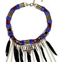 India Feather Trim Tribal Necklace