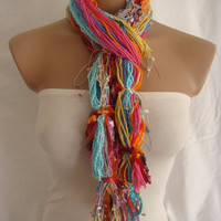 Fringe Scarf Knotted Scarf The Colors of Dreams