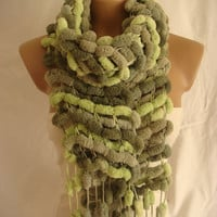 Hand Knitted Tones of Green Pom Pom, Cocoon Scarf