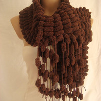 Hand Knitted Chocolate Brown Pom Pom, Cocoon scarf by Arzu's Style