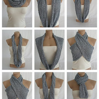 Hand knitted silver gray and black elegant scarf