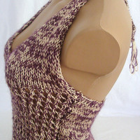 Hand knitted low back cream and purple blouse