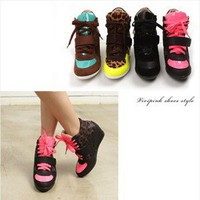 fashionable women high top sneakers inner wedge heel no fs030-3