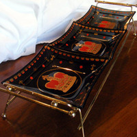 Vintage Snack Tray by Dan Baird in Brass Carrier by GSArcheologist