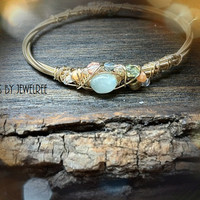 Recycled GUITAR STRING Bracelet Adorned with Aquamarine and glass bead crescent