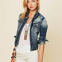 Free People Diamond Embroidered Denim Jacket