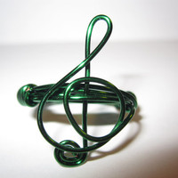 Green Treble Clef Ring Wire Wrapped Music Note Ring