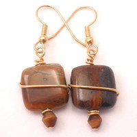 Tigers Eye Tigers Iron Earrings with Wire Wrapping in Gold