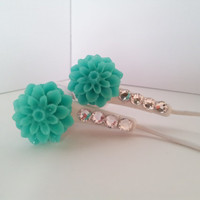 Teal Dahlia Flower Earbuds with Swarovski crystals
