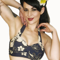 FRANCES Retro Floral Bikini Top Pick Your Size by MySugarDoll
