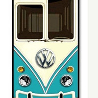 Cute kawaii blue mini bus volkswagen chrome logo Apple On iPhone 4 Case, iPhone 4s Case, iPhone 4 Hard Case, iPhone Case-graphic Iphone case