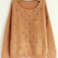 Hollw Out Round Neck Pink Sweater with Pocket S004202