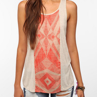 Ecote Washed Charmeuse Print Mix Tank Top