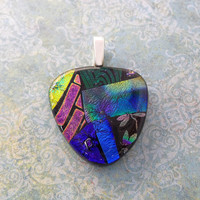 Multicolored Dichroic Pendant, Pink Green Gold Blue Necklace, One of a Kind, Fused Glass Jewelry - Party Nights - -4