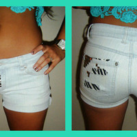 Zebra Print and Studded Jean Shorts