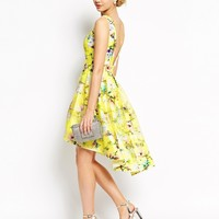 Chi Chi London Full Prom High Low Skater Dress In Floral Print