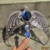 Harry Potter handmade Ravenclaw&#x27;s diadem crown headdress with blue crystal and Words carving