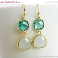 AUTUMN SALE - Tiffany Blue Gold Drop Earrings, Blue Zircon with Ice Mint Earrings - wedding jewelry, bridal earrings, bridesmaid gifts