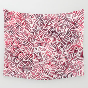 Burgundy and white doodles Wall Tapestry by Savousepate