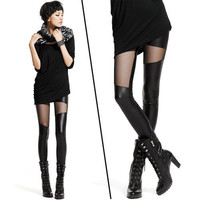Black Sexy PUNK Style Gauze Mesh Splicing Girls Ladies Leggings Tights Pants