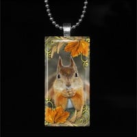 Squirrel Autumn Rectangle Glass Pendant