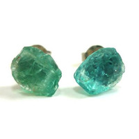 Raw Druzy Green Blue Apatite Gemstone Studs by AstralEYE on Etsy