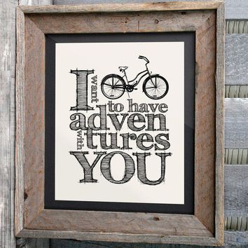 $16.00 8x10 Typographic Bicycle Print I want to have by n2design on Etsy