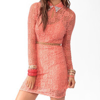 Rhinestoned Collar Lace Dress