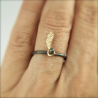 $55.00 Gold Feather Charcoal Silver Ring  Dancing by NangijalaJewelry