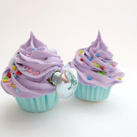 DECORATIVE KNOBS fake cupcake Door knobs set of 2 kitchen knobs drawer knobs (kitchen,bakery,girls room, coffee shop) purple icing